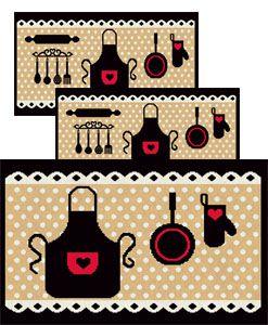 Jogo de Tapete para Cozinha 3 peças Avental 50 Preto  J. Serrano