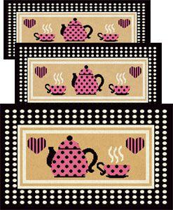 Jogo de Tapete para Cozinha 3 peças Chaleira 50 Preto  J. Serrano