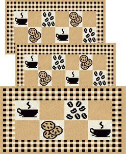 Jogo de Tapete para Cozinha 3 peças Cookies 81 Palha  J. Serrano