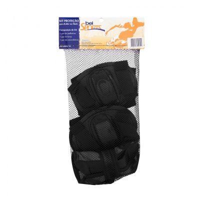 Kit de Proteção Infantil Preto M para Rollers e Skates Bel Fix