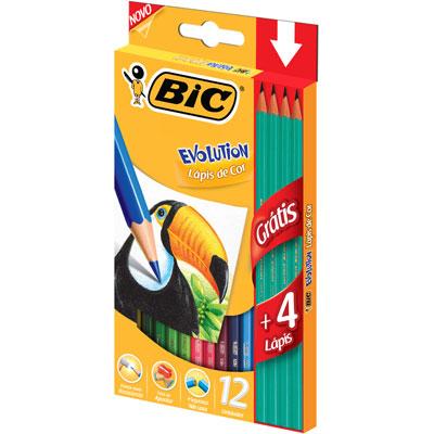 Lápis de Cor 12 cores Evolution sextav.+4 lápis preto 902545 Bic CX 1 UN