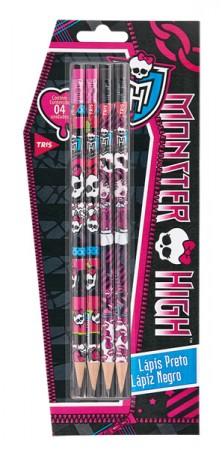 Lápis Preto com Borracha Monster High Tris