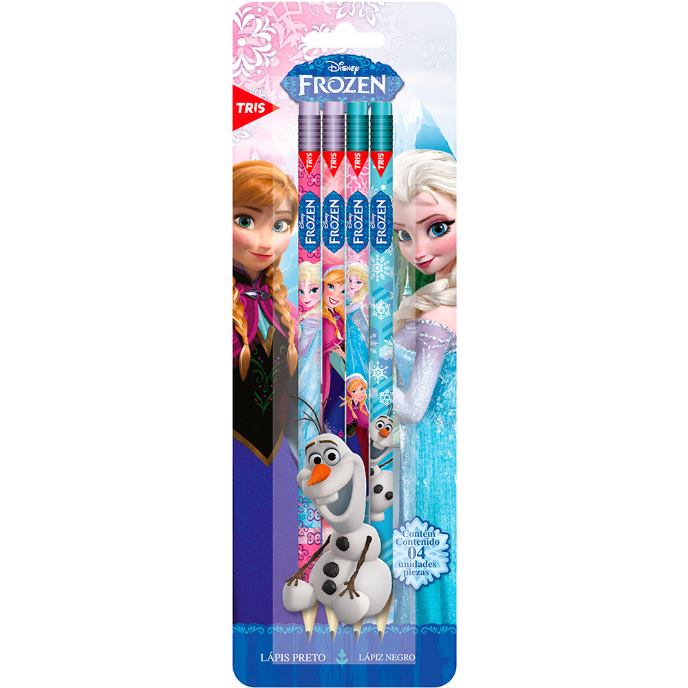 Lápis preto n.2 com borracha Frozen Tris