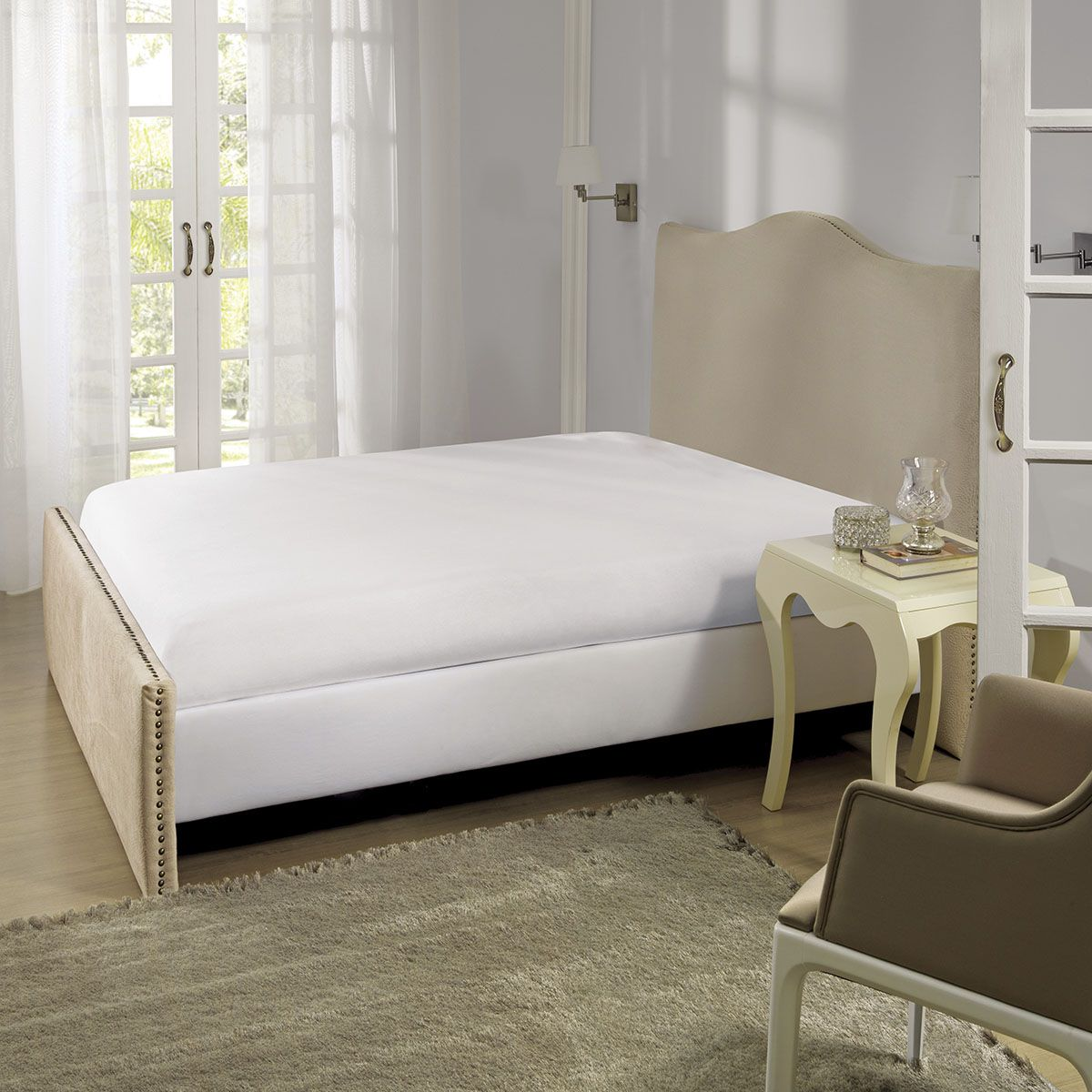 Lençol Branco Premium com elástico 200 fios Queen Size Percal 067448 Lepper