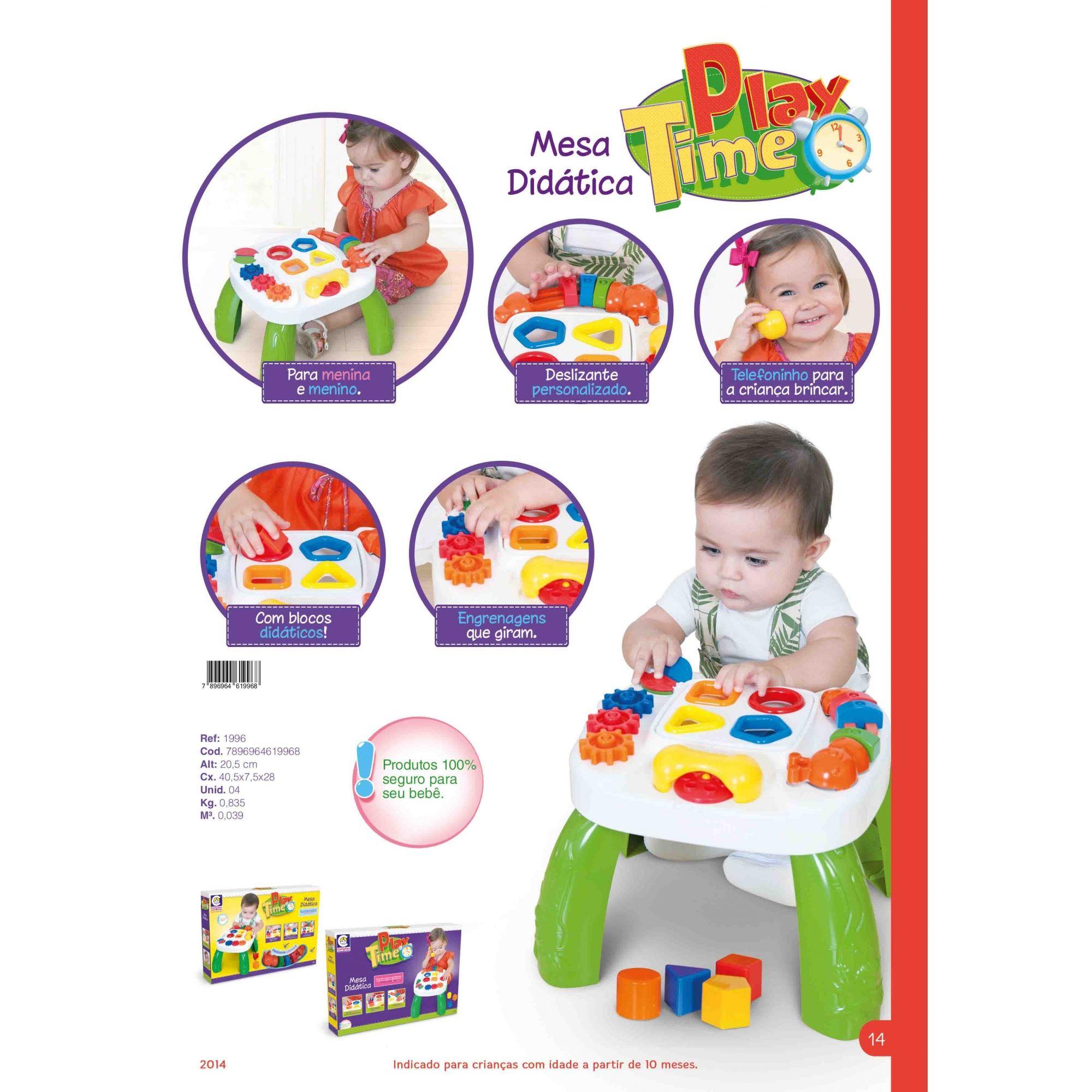 Mesa de Atividades Didática Infantil Play Time 1996 Cotiplás