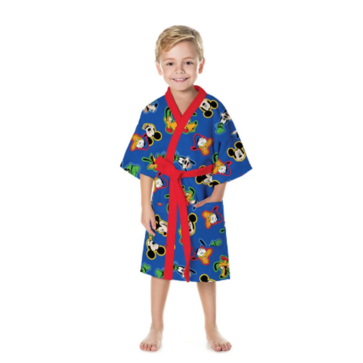 Roupão Mickey Infantil Aveludado Quimono Azul Lepper