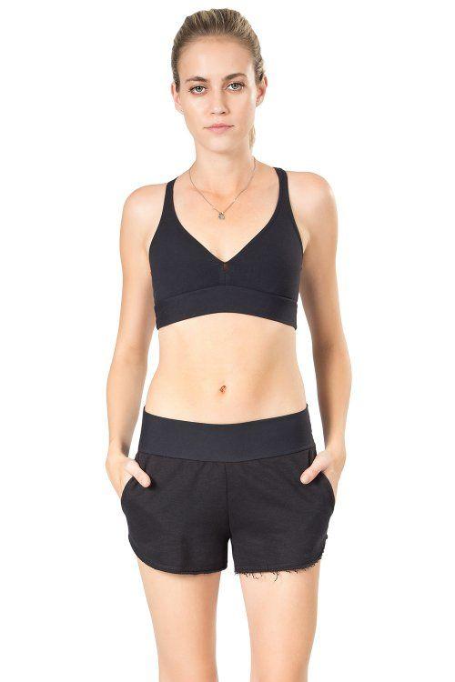 Shorts Fleece Essential Moletom Preto Live
