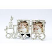 Porta retrato bebê trenzinho strass luxo para 2 fotos 5x5 cm
