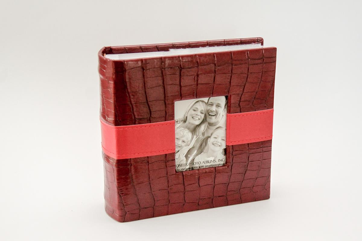 Álbum de fotos Croco  Red Strip de couro ecologico-100 fotos 10x15 cm vermelho escarlate