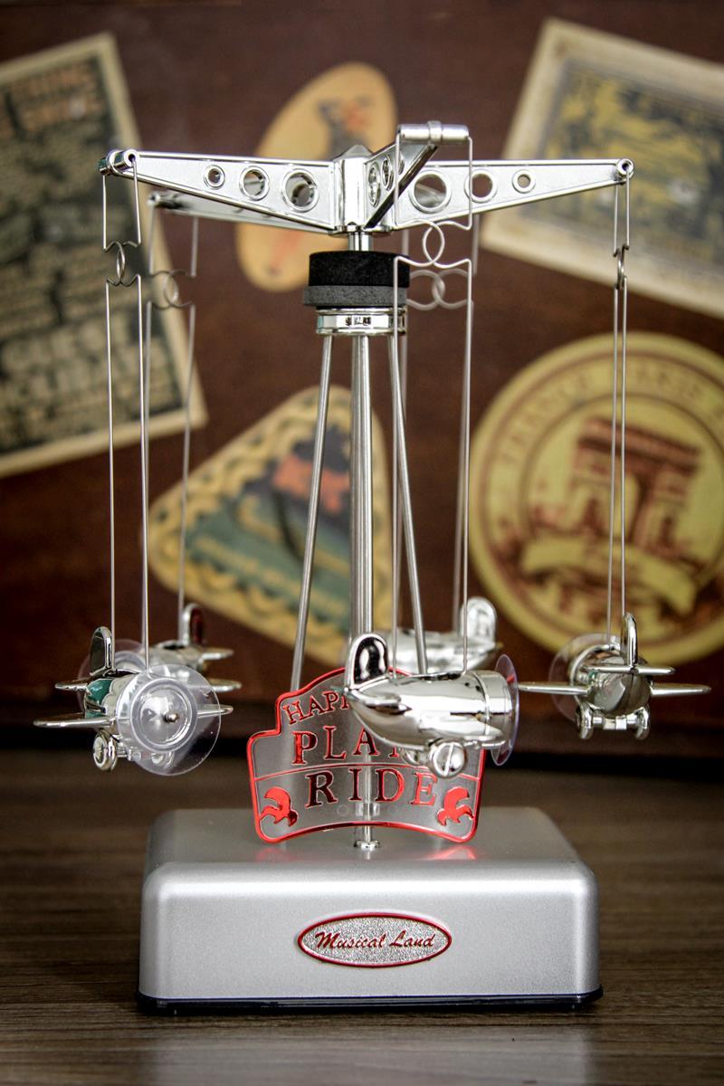Caixa de música carrossel musical de aviõezinhos prata