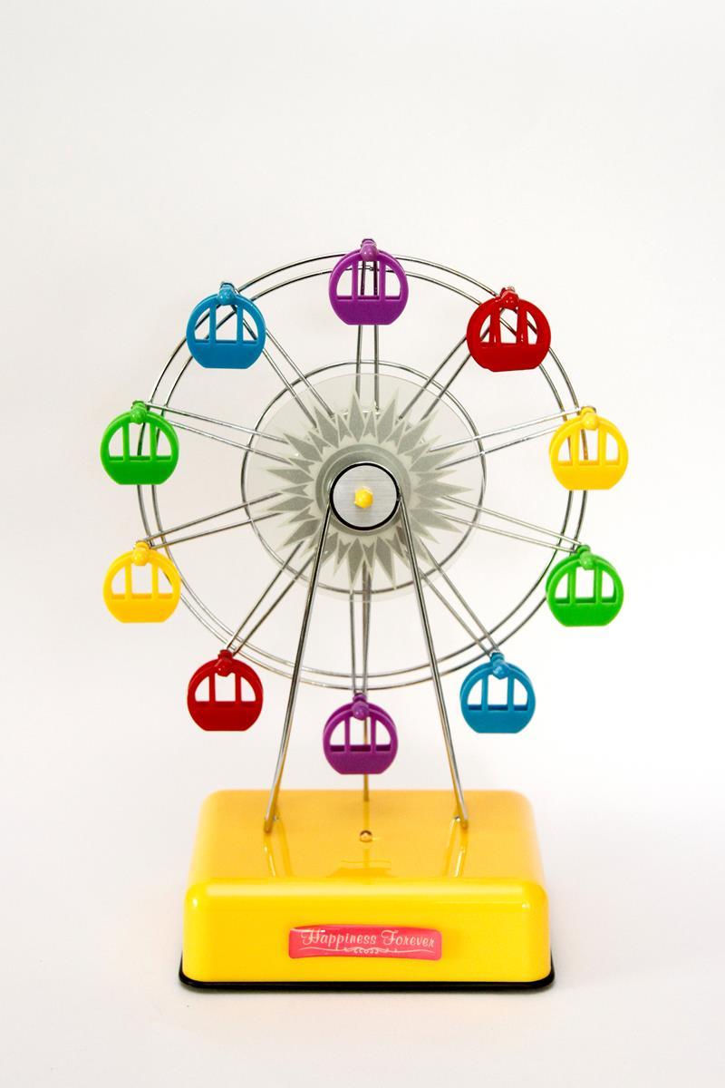Caixa de música roda gigante amarela com LED