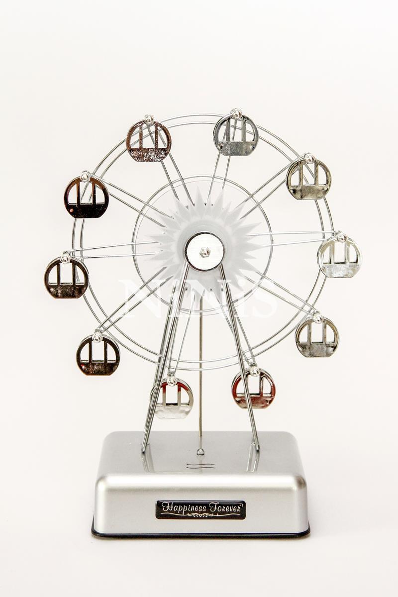 Caixa de música roda gigante prata com LED