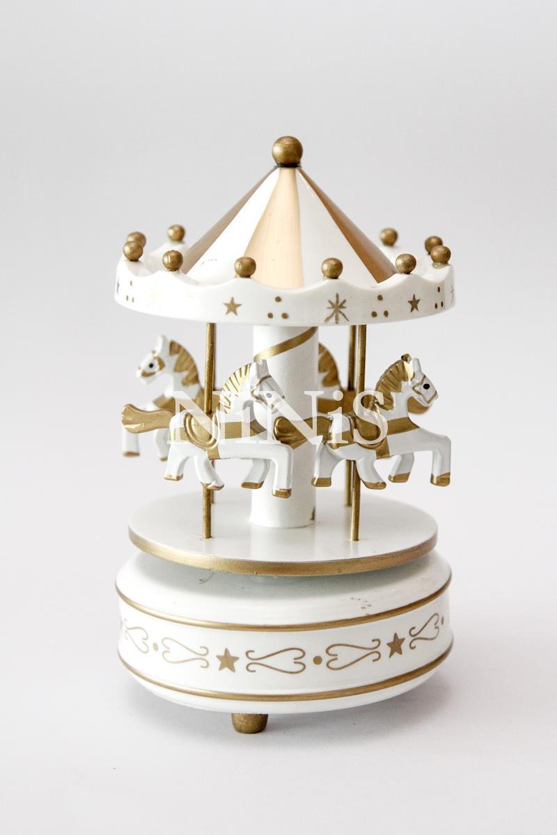 Carrossel musical - Caixa de música cavalinhos GOLD