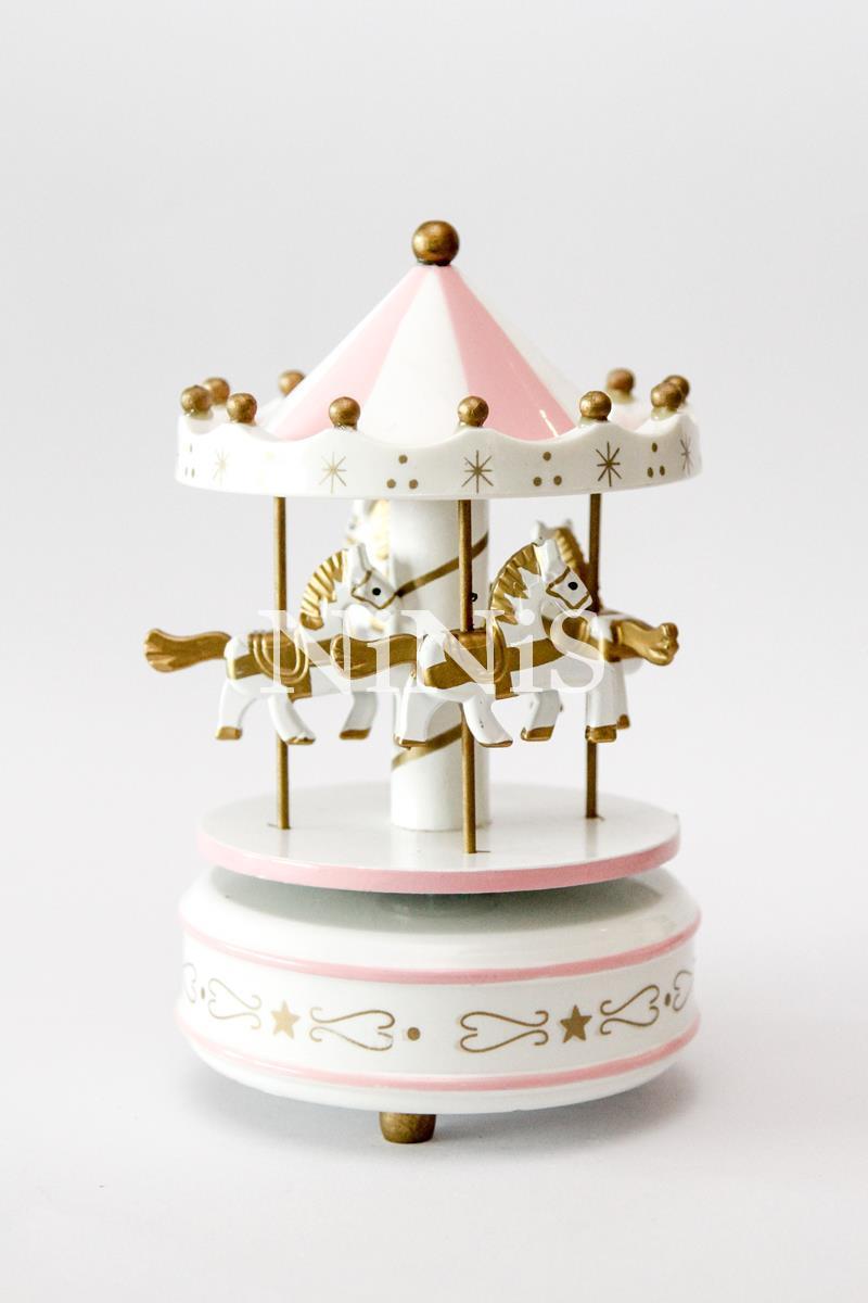 Carrossel musical - Caixa de música cavalinhos PINK