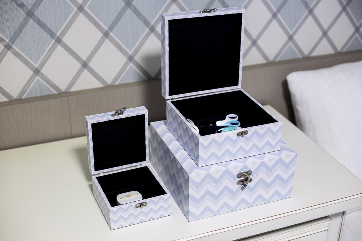 Conjunto de caixas organizadoras decorativas quarto do bebê chevron azul