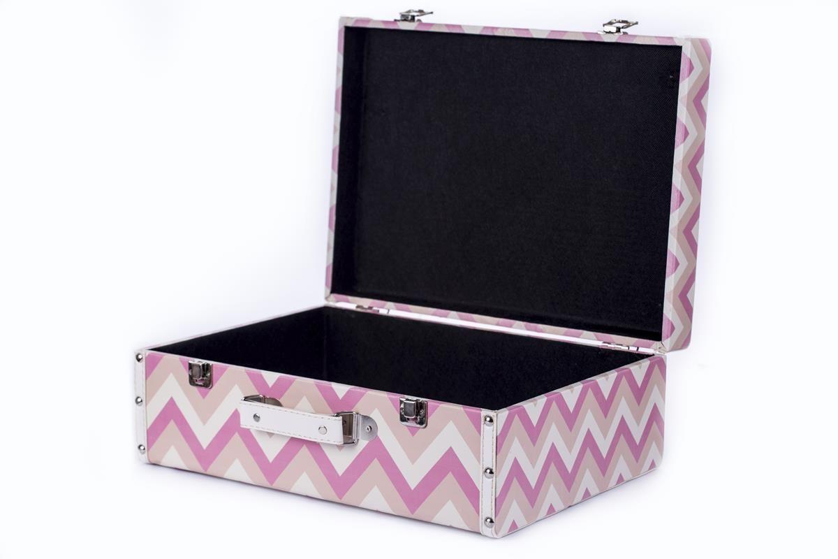 Conjunto de malas organizadoras decorativas maleta vintage chevron rosa
