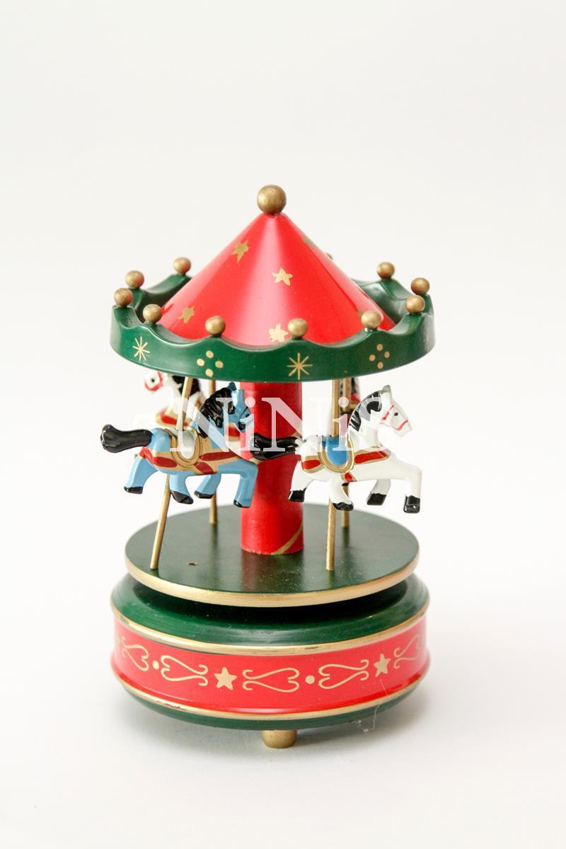 Carrossel musical - Caixa de música cavalinhos green red
