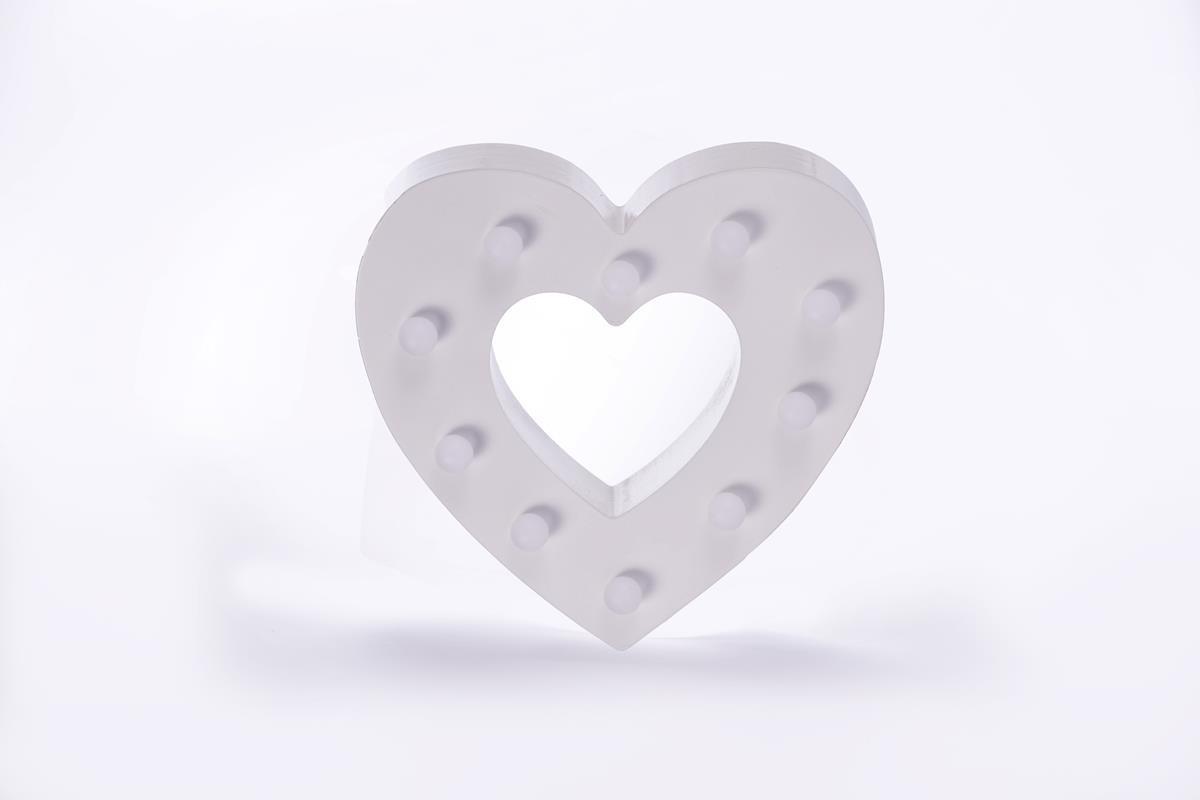 coração  luminoso mdf luminária led