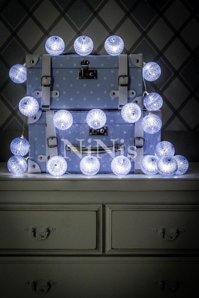 Cordão de luz Azul Bebê - luminária decorativa 20 bolinhas led