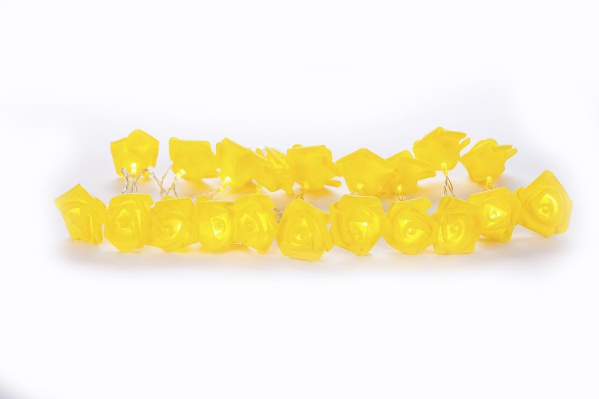 Cordão de luz de Rosas Amarelas EVA luminária fio de luz 20 leds