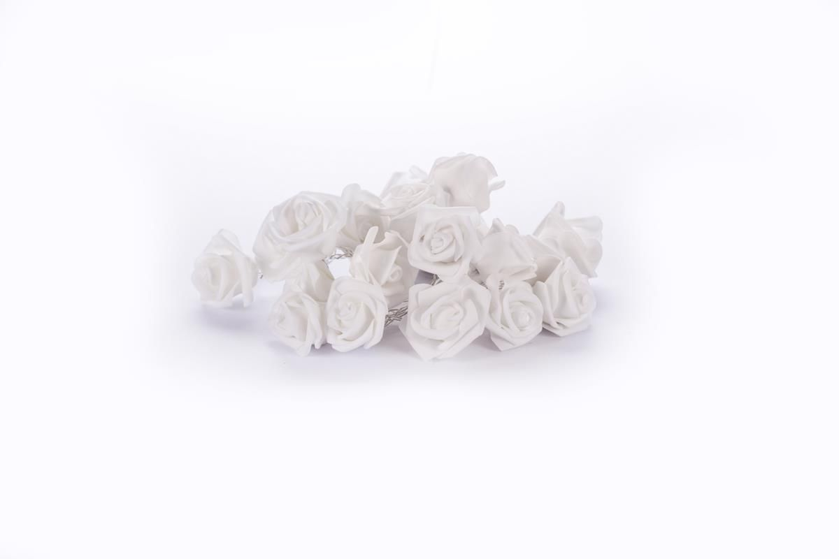 Cordão de luz de Rosas Brancas EVA luminária fio de luz 20 leds