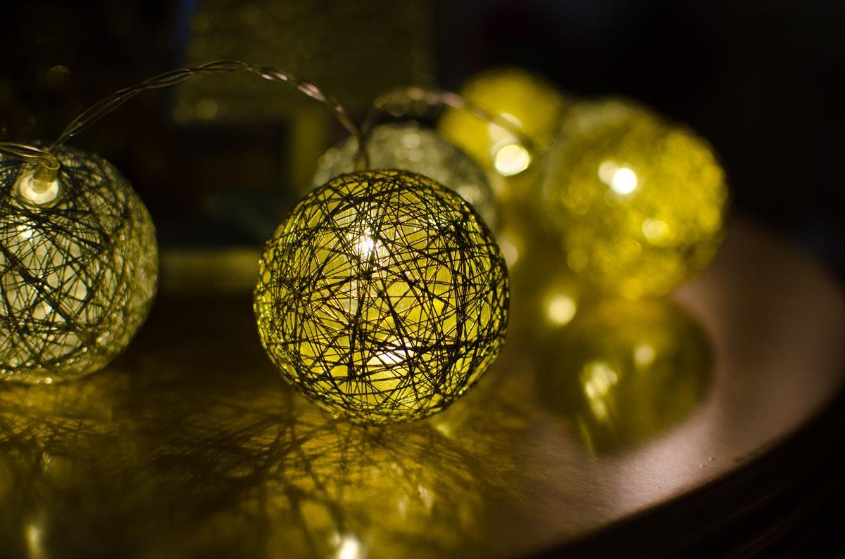 Cordão de luz Dourado Natal adorno de guirlandas decoração mesa posta natalina 20 leds