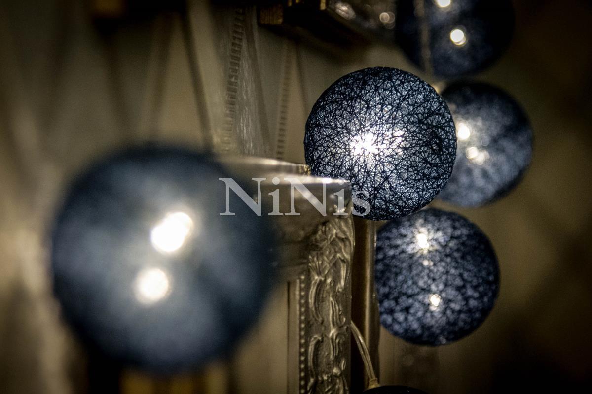 Cordão de luz Greenwood - luminária de bolinhas de algodão 20 leds