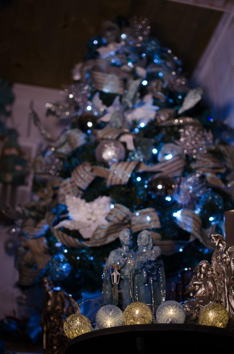 Cordão de luz Natal SilverBlue - ornamentação árvores decoração festa e mesa  20 leds