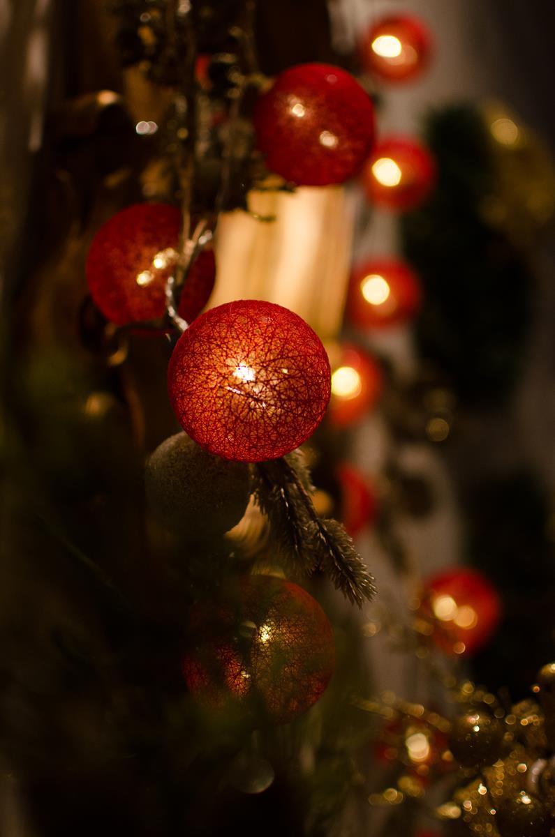 Cordão de luz Natal Vermelho Noel  - adorno de guirlandas decoração festa mesa posta natalina 20 leds