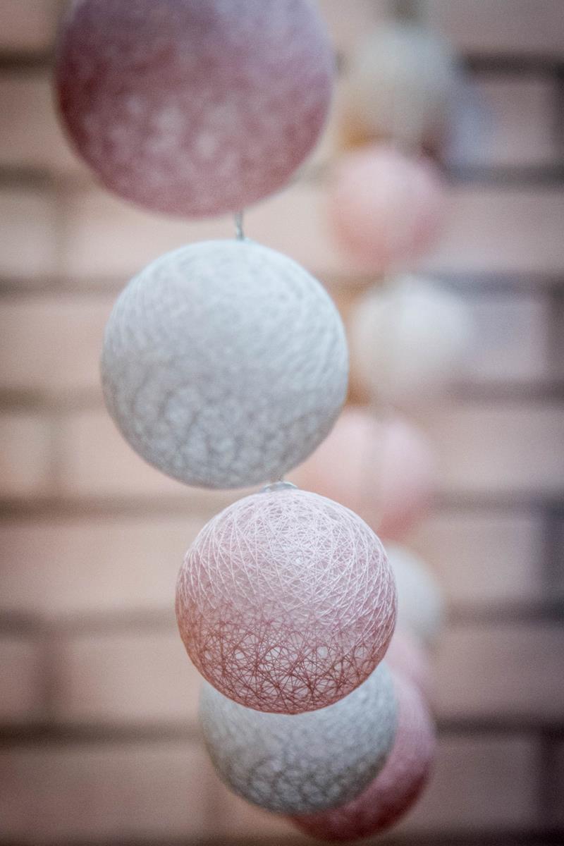 Cordão de luz rosa bebê - fio de luz fada 20 leds