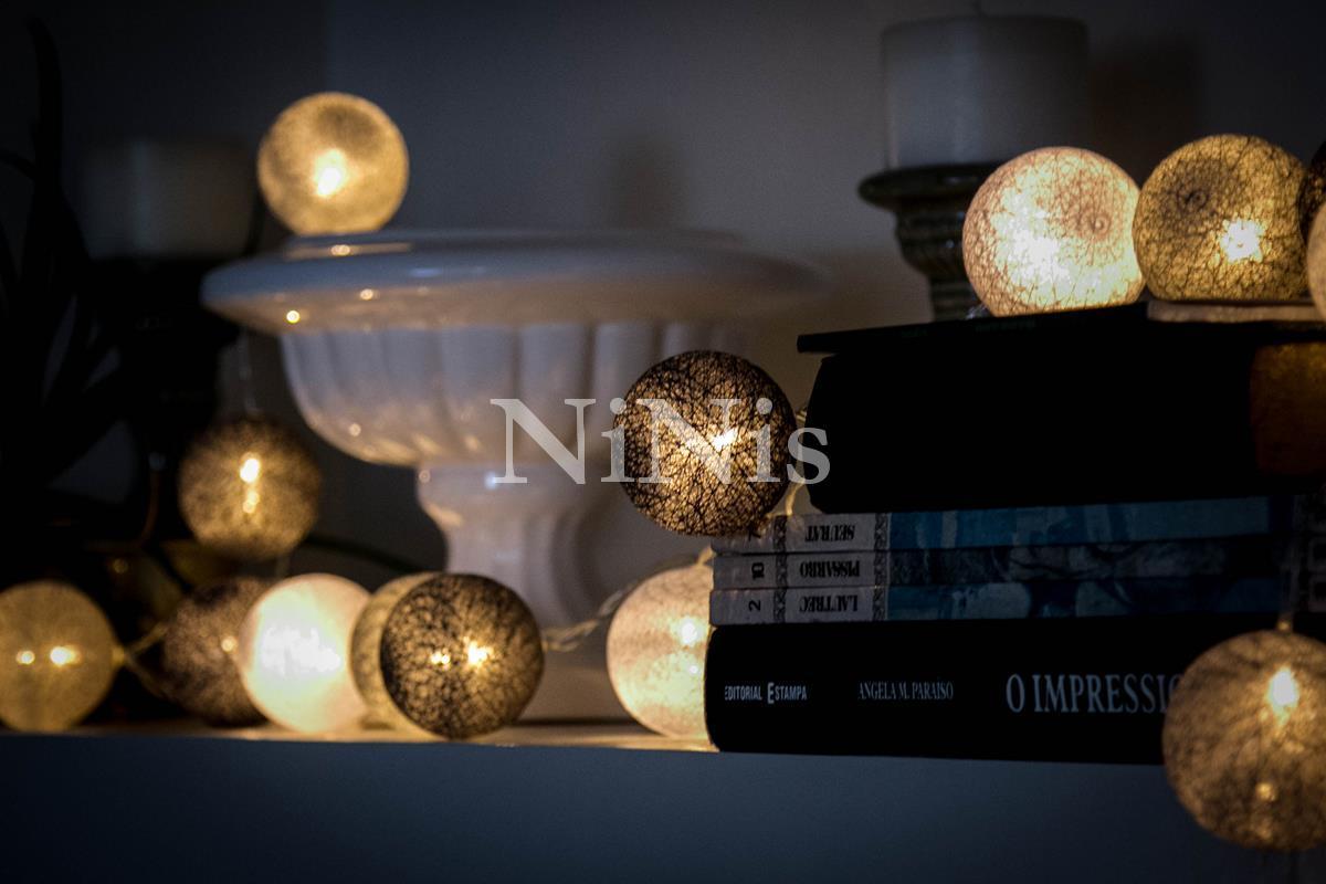 Cordão de luz Tons de cinza - luminária fio de luz 20 leds