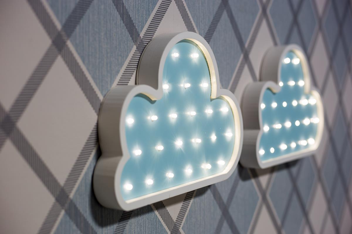 Duo de nuvens luminosas mdf luminária led quarto de menino azul bebê