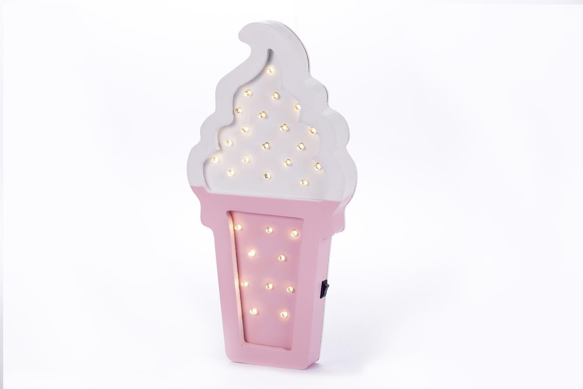 Ice Cream sorvete luminoso mdf luminária led rosa e branco