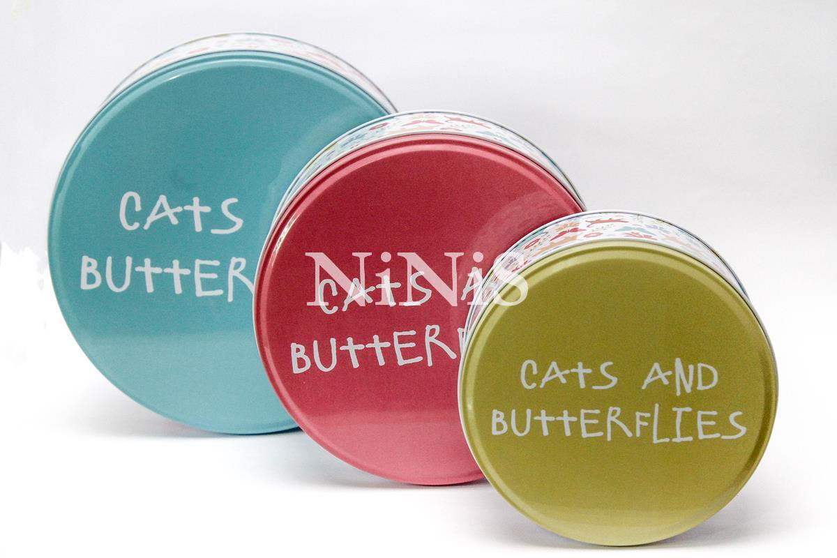 Jogo de 3 latinhas decorativas organizadoras cats and butterflies
