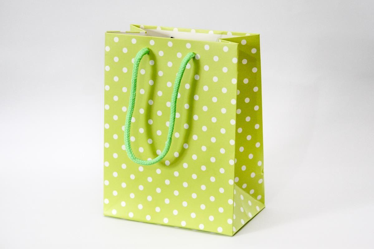 Kit com 10 Sacolinhas cores diversas com poá 18 x 14 x 8 cm para presentes