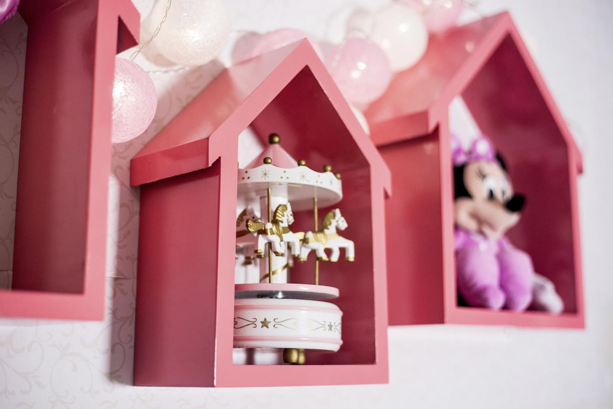 Kit com 3 nichos casinha decorativos MDF casinha trio cor Rosa