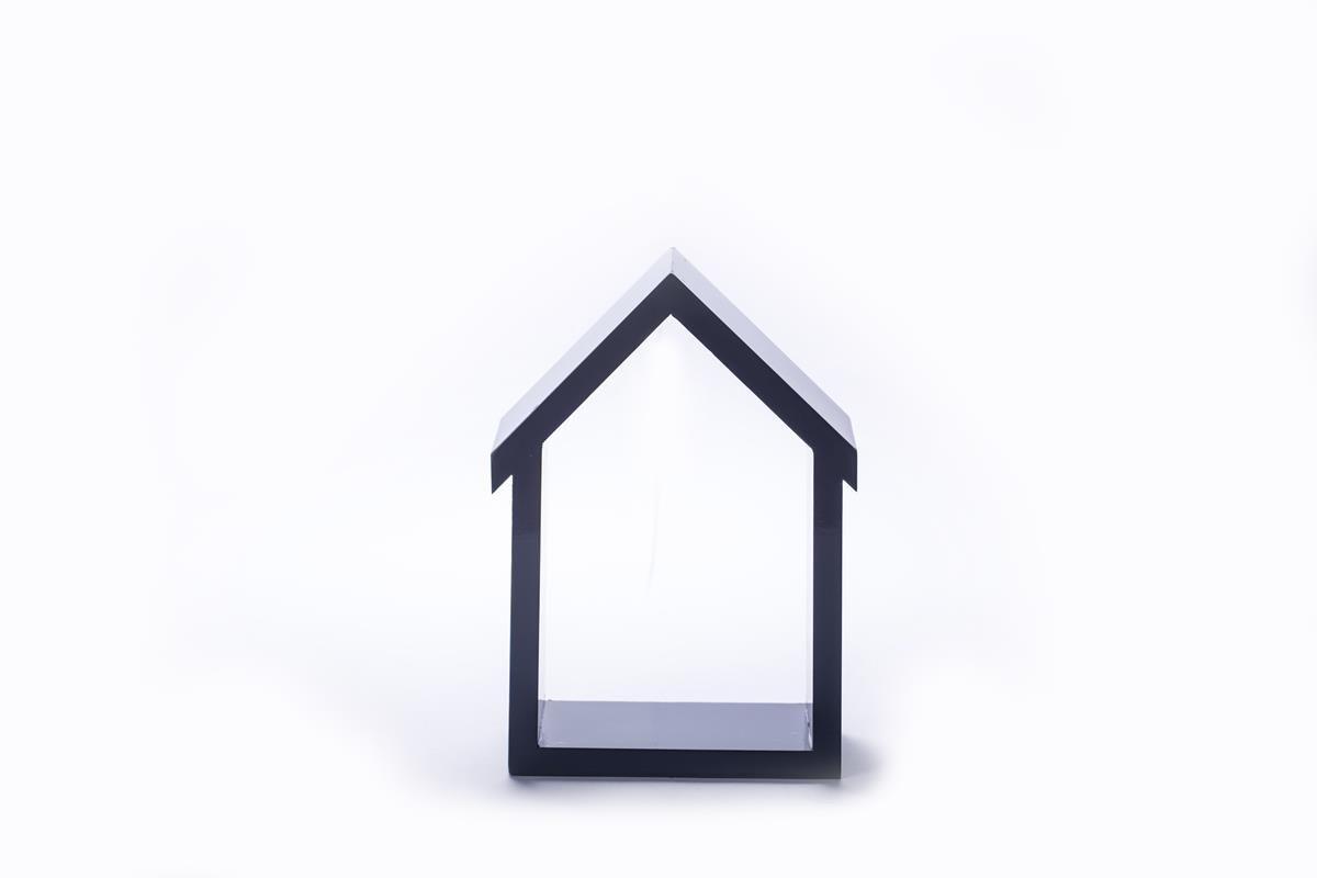 Kit com 3 nichos decorativos tipo casinha em MDF  trio cor cinza