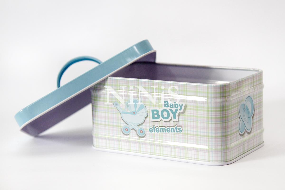 latinha maleta para  lembrancinhas/decoração  baby boy azul