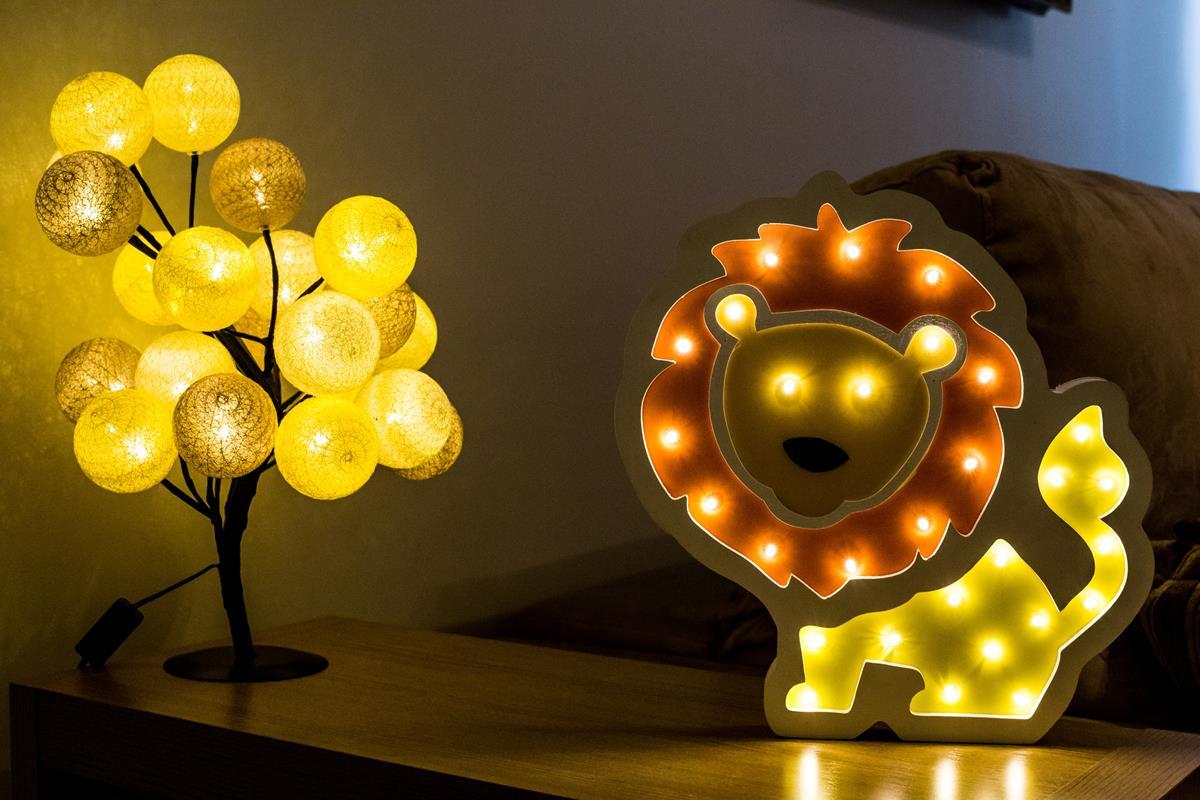 Leao  luminoso mdf luminária led quarto bebê criança adolescente
