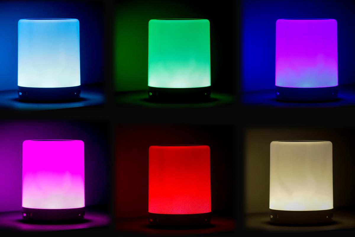 Luminária abajur e caixa de som luminária LED bluetooth MP3 touch bateria recarregável AZUL