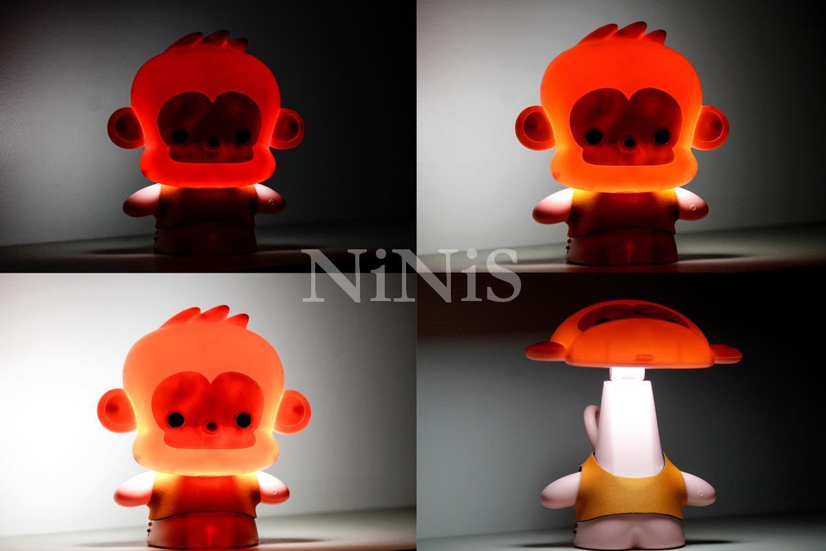 Abajur de mesa luz noturna Baby Monkey pink   quarto do bebê