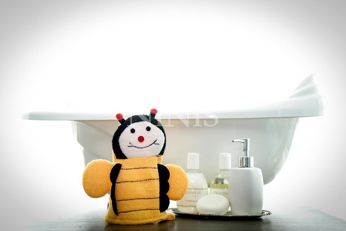 Luva de banho infantil Abelhinha Laranja