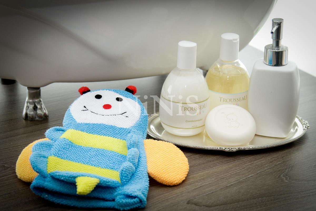 Luva de banho infantil Abelhinha azul