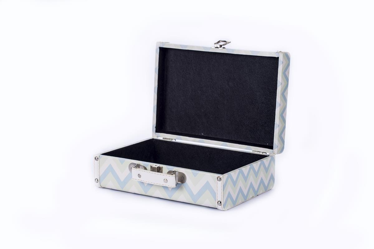 Mala organizadora decorativa maleta vintage chevron azul e verde bebê pequena