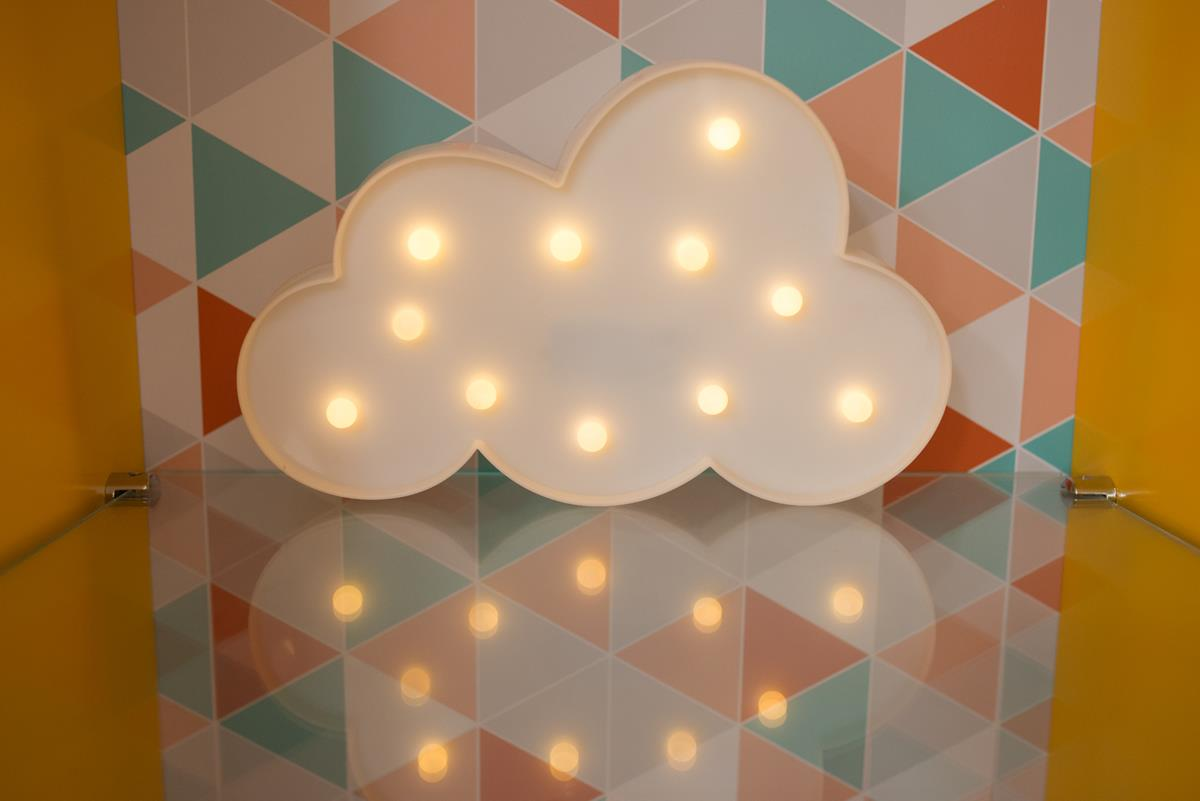 Nuvem luminosa decorativa luminária led 3D  a pilha
