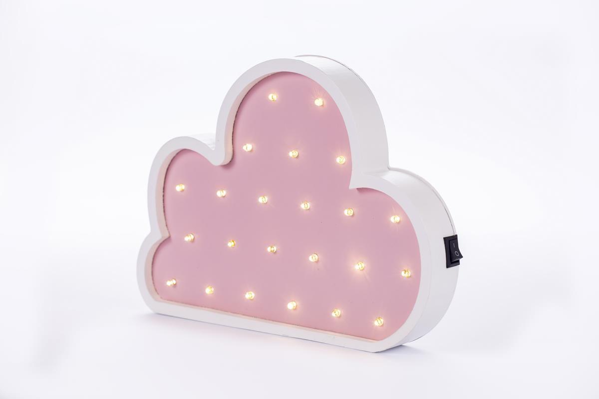 Nuvem luminosa mdf luminária led quarto de menina rosa bebê