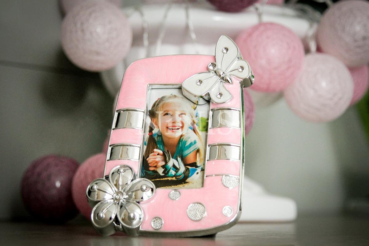 Porta Retrato infantil Borboleta Rosa  8x4 cm