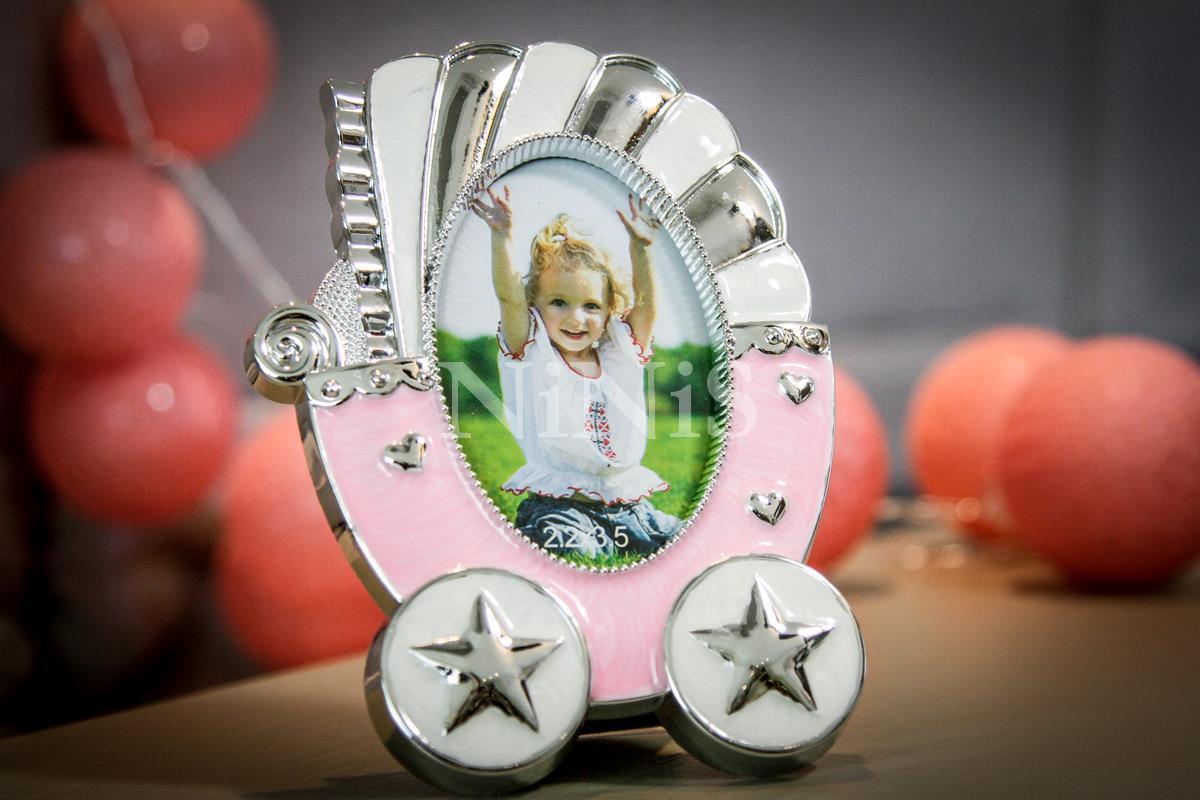Porta Retrato infantil Carrinho de bebê rosa  8x5 cm
