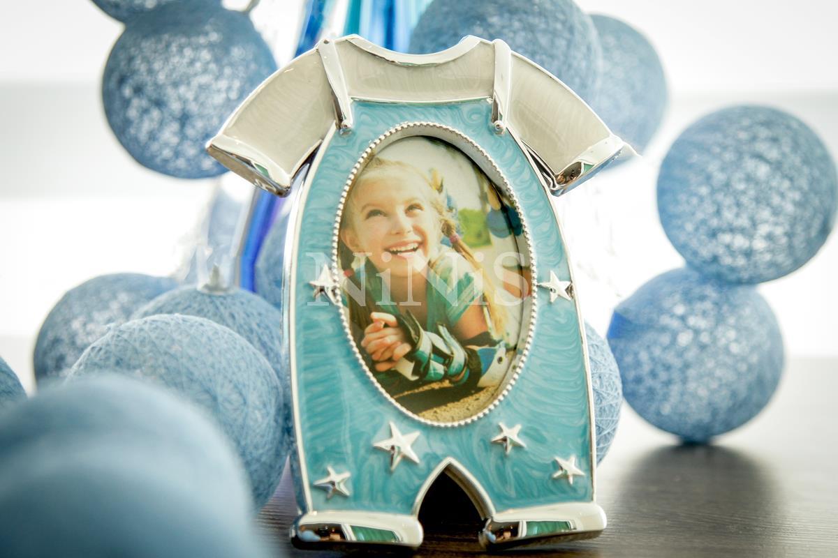 Porta Retrato infantil Macacão Azul  8x6 cm
