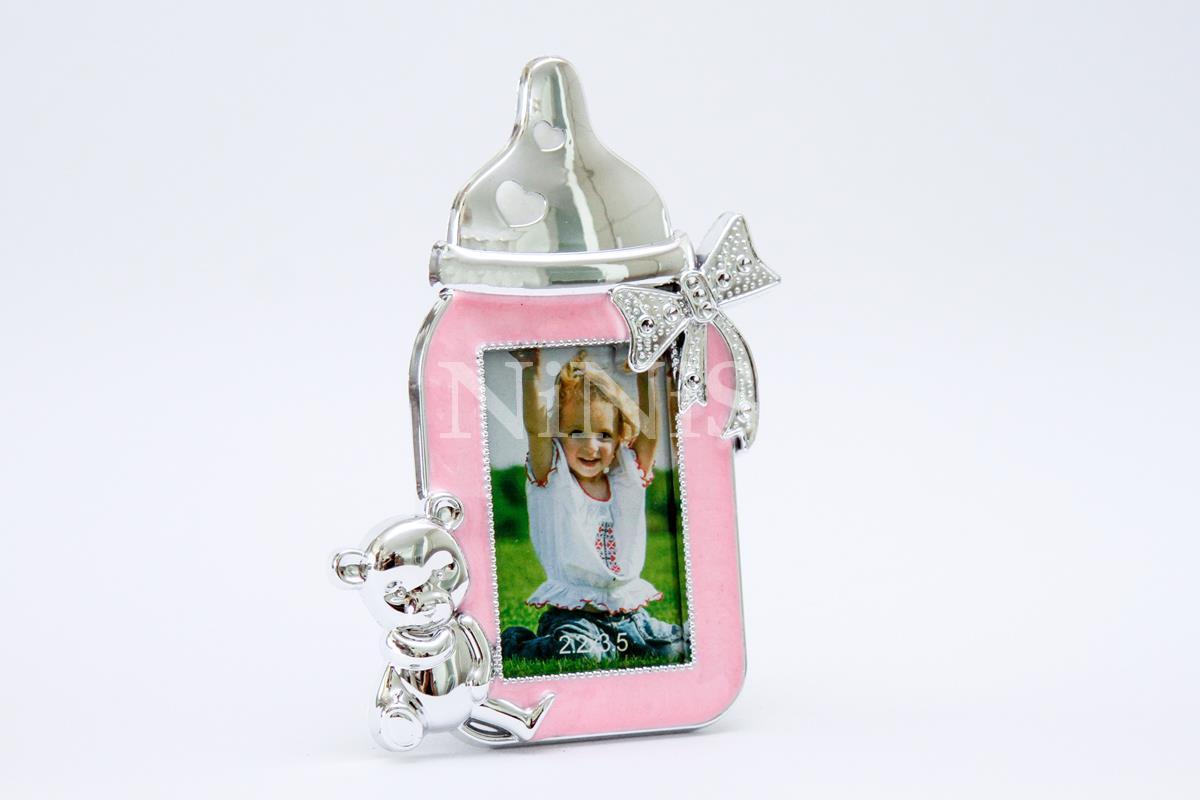Porta Retrato infantil Mamadeira Rosa  7x4 cm